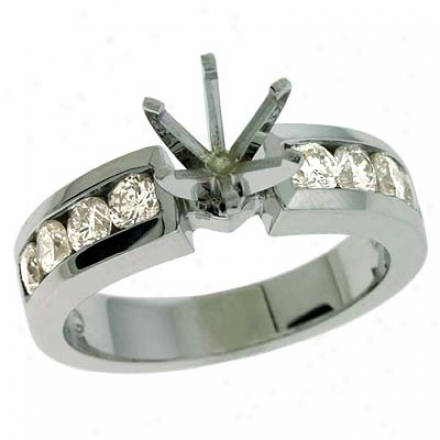 14k White Round 0.83 Ct Diamond Semi-mount Engagement Ring