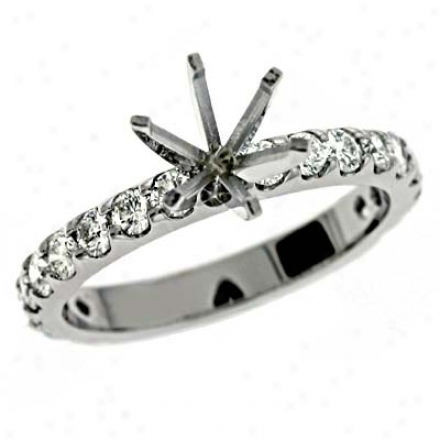 14k White Round 0.87 Ct Diamoonnd Semi-mount Engagement Ring