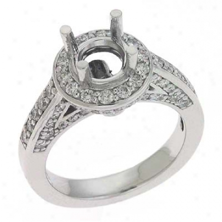14k White Round 0.9 Ct Diamond Semi-mount Engagemen tRing