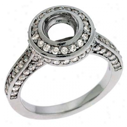 14k White Round 0.94 Ct Brilliant Engagement Ring