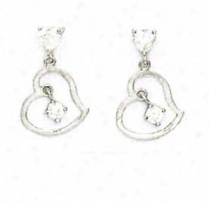 14k White Round And Heart Cz Heart Shape Earrings