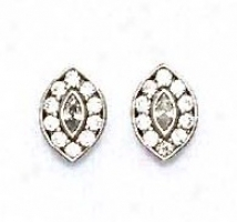 14k Of a ~ color Round And Marquise Cz Marquise Mould Earrings