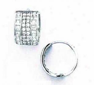 14k White Round And Square Cz Hinged Earrings