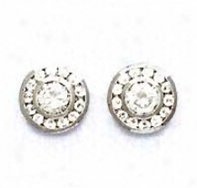 14k White Round Cz Circle Sketch Friction-back Post Earrings