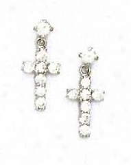 14k White Round Cz Cross Friction-back Post Earrings