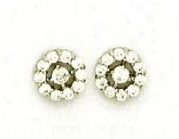 14k White Round Cz Flower Design Friction-back Post Earrings