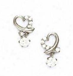 14k White Round Cz Heart Shape Friction-back Post Earrings