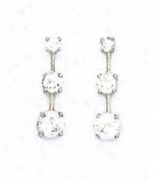 14k White Round Cz Three-stonw Friction-back Post Earrings