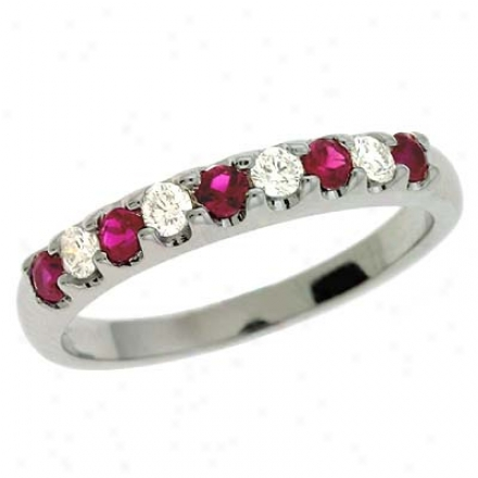 14k White Ruby And Diamond Cord Ring