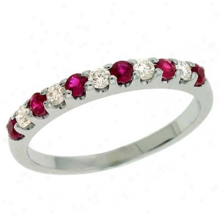 14k White Ruby And Diamond Ring