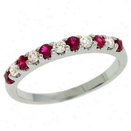 14k White Ruby And Diamond Ring