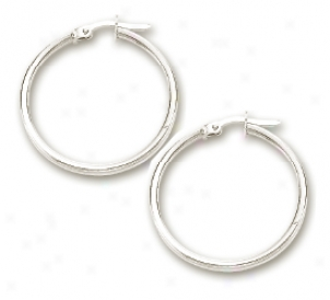 14k White Shiny Light Weight Hiop Earrings