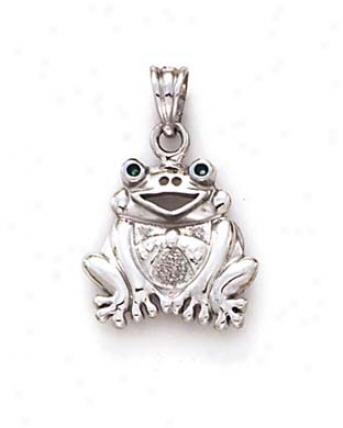 14k White Sitting Frog Pendant