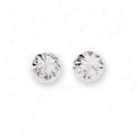 14k White Small Diamond-cut Half Ball Stud Earrings