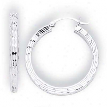 14 White Small Diamond-cut Hoop Earrings