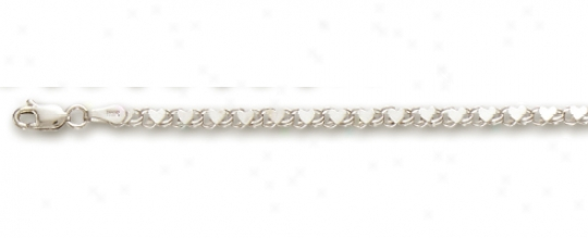14k White Small Heart Link Anklet - 10 Inch