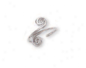 14k White Spiral Toe Ring
