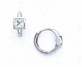 14k White Square Cz Petite Hinged Earrings
