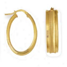 14k White Stamped Oval Hoop Earringz