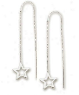 14k White Star Threader Earrings