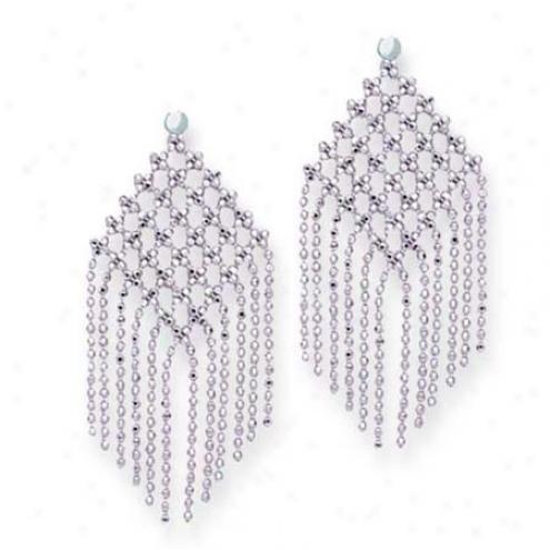 14k White Stylish Drop Beads Design Earrings