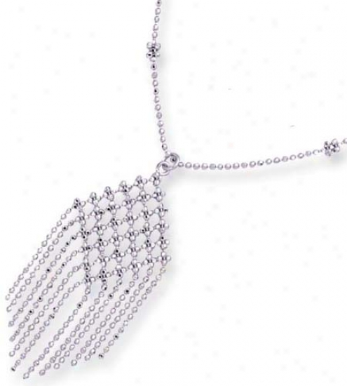 14k White Stylish Drop Beads Design Necklace - 17 Inch