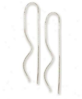 14k White Swirl Bar Threader Earrings