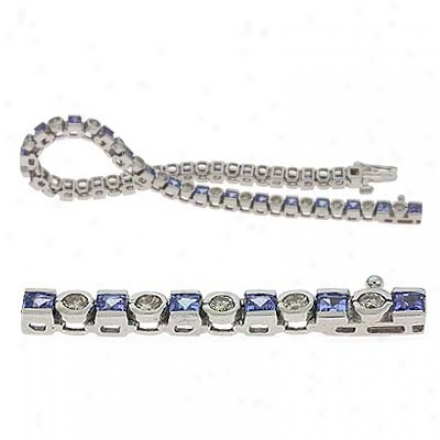 14k Happy Tanzanite And Diamond Bracelet