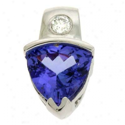 14k White Tanzanite And Diamond Pendant