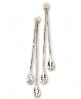 14k White Teardrop Snake Chain Earrings