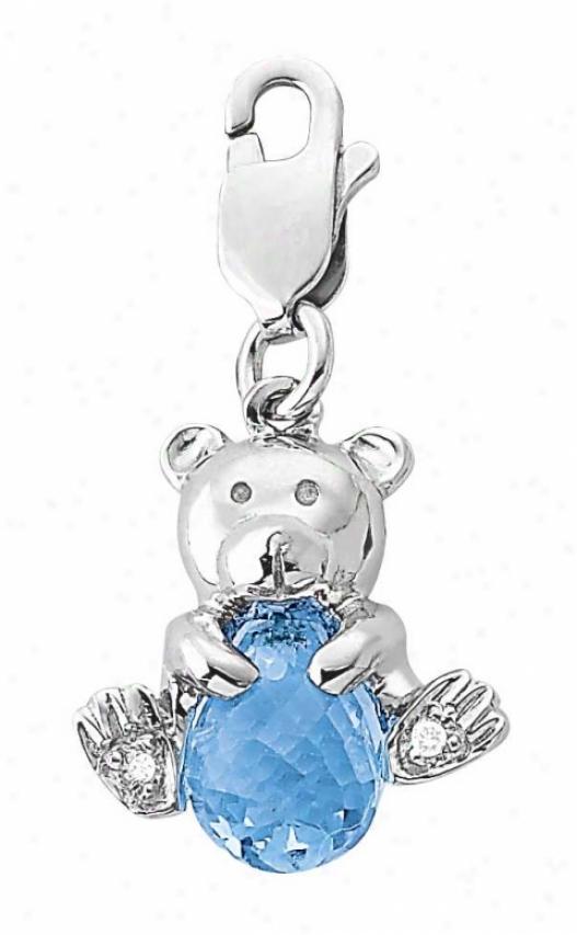 14k Of a ~ color Teddyy Bear 1.5 Mm Blue Topaz And Diamond Charm