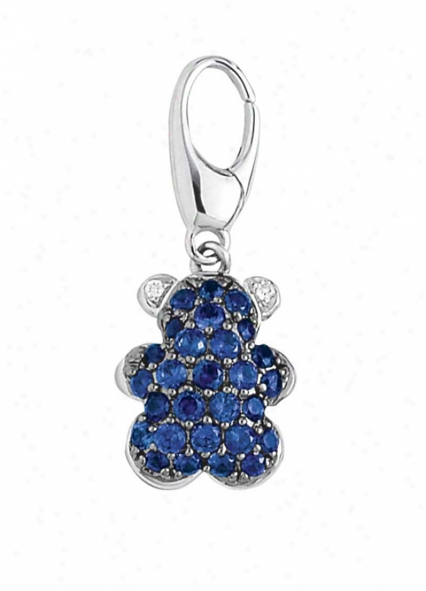 14k White Tecdy Bear 1.5 Mm Sapphire And Diamond Charm