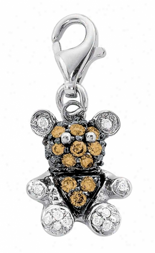 14k Of a ~ color Teddy Bear Round 1.5 Mm Diamond Charm