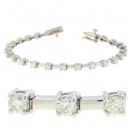 14k White Tennis 2 Ct Diamond Bracelet