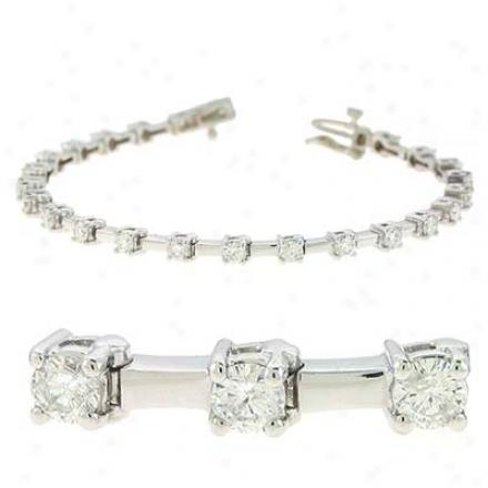 14k White Tennis 3 Ct Diamond Bracelet