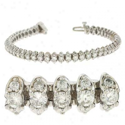 14k White Tennis 5.04 Ct Diamond Bracelet