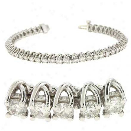 14k White Tennis 7 Ct Diamond Bracelet
