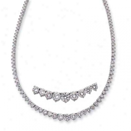 14k White Three Prong 11.05 Ct Rhombus Necklace