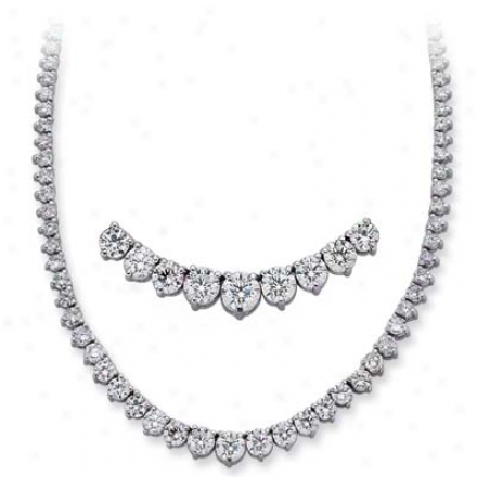 14k White Three Prong 12 Ct Diamond Necklace