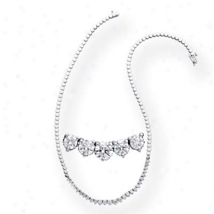 14k White Three Prong 3.03 Ct Diamond Necklace