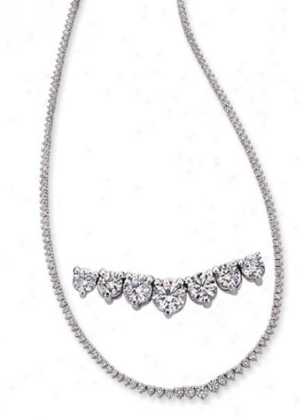 14k White Three Prong 9.23 Ct Diamond Necklace