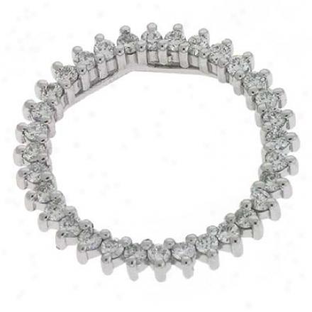 14k White Three Prong Circle 1.03 Ct Diamond Pendant