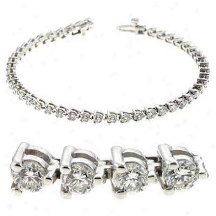 14k White Three Prong Tennis 6 Ct Diamond Bracelet