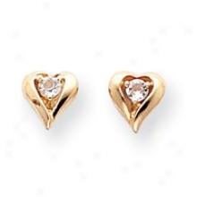 14k White Topaz Birthstone Centre Earrings