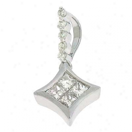 14k White Trendy 0.23 Ct Diamond Pendant