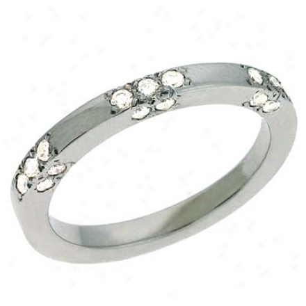 14k White Trendy 0.33 Ct Diamond Band Ring