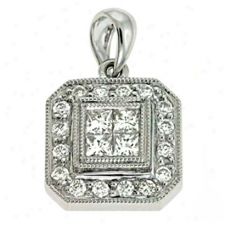 14k White Trendy 0.38 Ct Diamond Pendant