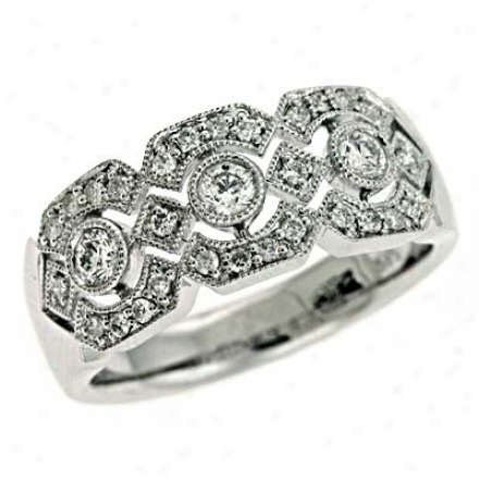 14k White Trendy 0.41 Ct Diamond Ring