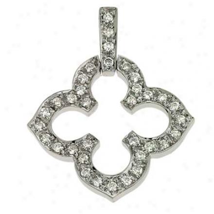 14k White Trendy 0.47 Ct Diamond Pendant