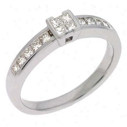 14k White Trendy 0.48 Ct Diamond Ring